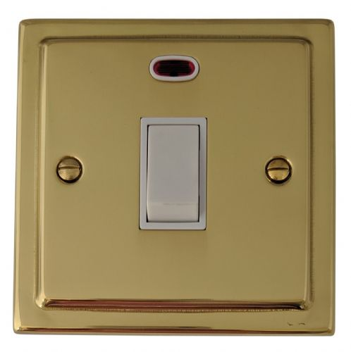 G&H TB26W Trimline Plate Polished Brass 1 Gang 20 Amp Double Pole Switch & Neon